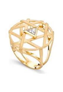 Anel Potenza Trilhon Ouro Amarelo C/Topazio White - 17