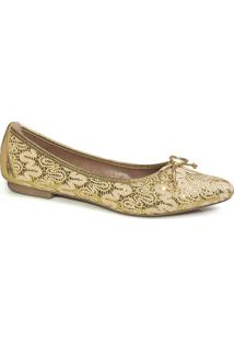 Sapatilha Flamarian Laço Gliter Ouro-Ouro-34