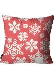 Capa Para Almofada Mdecore Natal Flocos De Neve Vermelha 45X45Cm