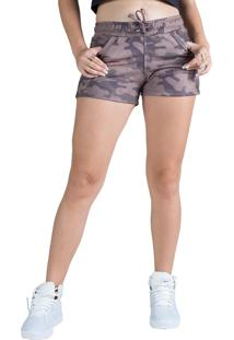 Short Moletom Surty Camo Sense Marrom Deserto