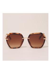Óculos De Sol Feminino Geométrico Yessica Tartaruga