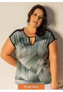 Blusa Femina Plus Size Decote V Verde