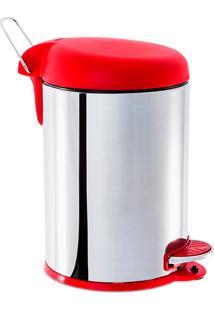 Lixeira Inox C/ Pedal 5L Tampa Vermelha - Brinox Vermelho