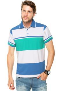 Camisa Polo Pacific Blue Tricolor Azul/Branca/Verde