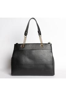 Bolsa Com Ilhoses & Correntes - Preta- 26X34X13Cmmr. Cat