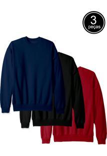 Kit Com 3 Blusas De Moletom Flanelada Fechada Part.B Preto Azul Vinho - Tricae