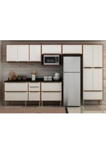 Cozinha Completa 8 Peças Calábria Snow Nogueira/Branco Com Tampos