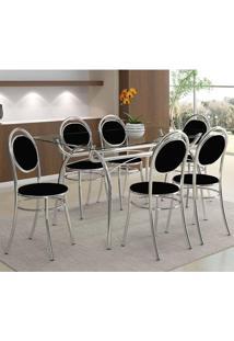 Mesa 379 Com Vidro Incolor Cromada Com 6 Cadeiras 190 Preta Carraro
