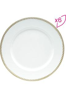 Conjunto De Sousplats Bordado- Branco & Dourado- 6Pçlyor