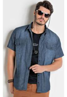 Camisa Actual Jeans Com Manga Curta