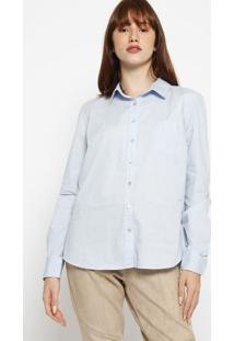 Camisa Com Bolso & Bordado- Azul Clarohering