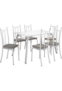 Conjunto De Mesa Lotus C/ 6 Cadeiras Branco E Grafiato Fabone