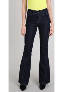 394a5831a ... Calça Jeans Feminina Sawary Flare Com Pespontos Azul Escuro