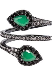 Anel Snake The Ring Boutique Pedra Cristal Verde Esmeralda Rã³Dio Negro - Verde - Feminino - Dafiti