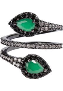 46c6cbce3de ... Anel Snake The Ring Boutique Pedra Cristal Verde Esmeralda Ródio Negro