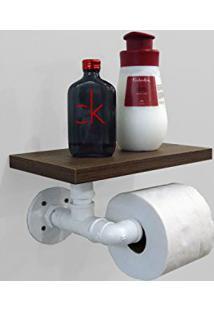 Porta Papel Higiênico Acessório Para Banheiro Papeleira Suporte De Parede Estilo Industrial - Branco Laca
