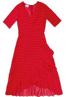 Vestido Vermelho Midi Com Transpasse