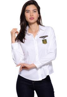 Camisa Estilo Boutique Patch Militar Branca
