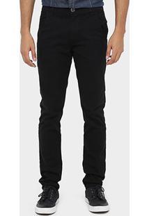 Calça Skinny Preston Color Bolso Faca Masculina - Masculino-Preto