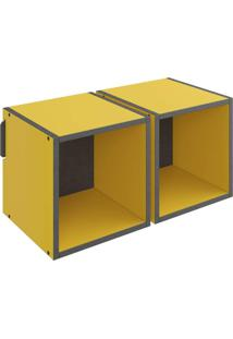 Nicho Quadrado Duplo Decorativo Lyam Decor Mov Amarelo