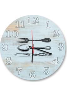 Relógio De Parede Decorativo Talheres Azul Claro Pátina 35Cm Médio