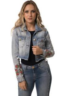 Jaqueta Jeans Eventual Cropped Feminina - Feminino-Azul