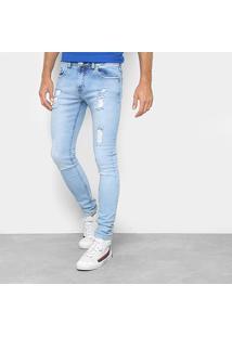 Calça Jeans Skinny Preston Destroyed Delave Masculina - Masculino