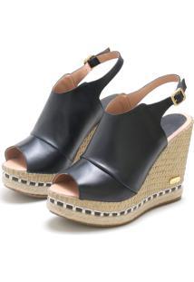 Sandã¡Lia Sb Shoes Ancoboot Anabela Ref.3400 Preto - Preto - Feminino - Couro - Dafiti