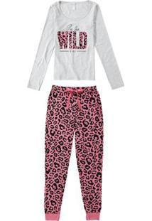 Pijama Cinza Claro Oncinha Longo Com Máscara