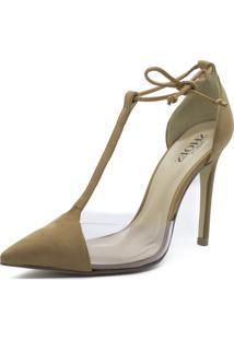 Scarpin Shoes Inbox Lace Up Detalhe Transparente Caramelo