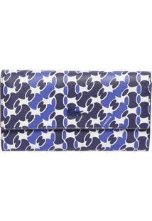 Carteira Geométrica Com Tag - Azul Marinho & Branca Lacoste