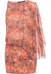 Vestido Curto Mix Assimétrico - Marrom