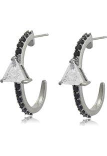 Brinco Viva Jolie Ear Hook Triângulo Cristal Fusion Ródio Negro
