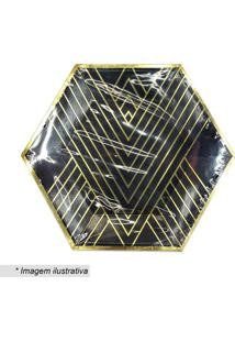 Jogo De Pratos Geometric- Preto & Dourado- 10 Unidadcelebrar