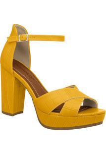 Sandália Meia Pata Texturizada- Amarelo Escuro & Douradapiccadilly