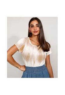 Camiseta Feminina Manga Curta Estampada Tie Dye Decote Redondo Bege