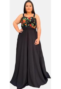 Vestido Longo Tnm Collection Madrinha Festa Plus Size Com Renda Preto