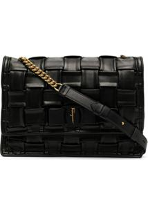 Salvatore Ferragamo Woven-Detail Cross Body Bag - Preto
