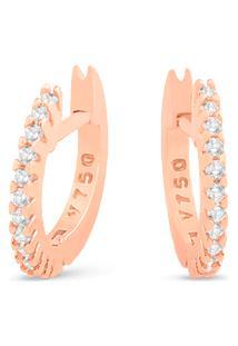 Argola Ouro Rosé E Diamantes