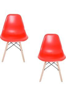Kit 02 Cadeiras Facthus Eiffel Charles Eames Em Abs Com Base De Madeira Dsw Vermelho