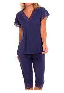 Pijama Capri Liganete Com Renda (2270) Marinho