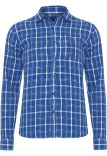 Camisa Masculina Manga Longa Slim - Azul