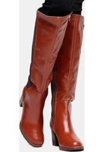 Bota Couro Montaria Shoestock Salto Médio Feminina - Feminino