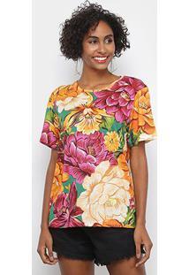 Blusas Farm T-Shirt Outono De Chita Feminina - Feminino-Verde