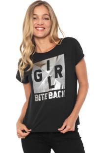 Camiseta Dzarm Girl Bite Back Preta