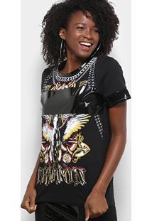 Camiseta Triton Águia Feminina - Feminino-Preto