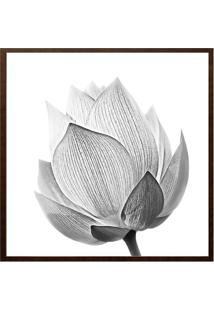Quadro Decorativo Flor- Branco & Preto- 60X60Cm-Arte Prã³Pria