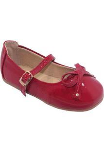 Sapato Boneca Em Couro Com Laã§O - Vermelho & Marromtoke
