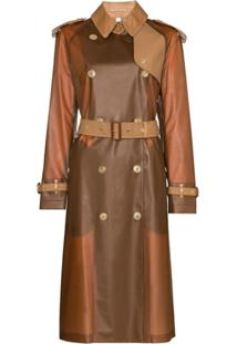 Burberry Gifford Collared Belted Trench Coat - Marrom