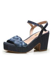 Sandália Iod'S Plataforma Em Jeans E Tira Com Trama Zig Zag – 207006 Jeans E Azul